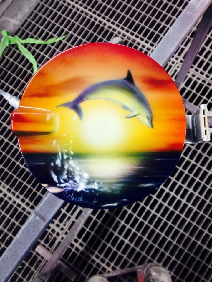 Airbrush Delphin auf Tankdeckel