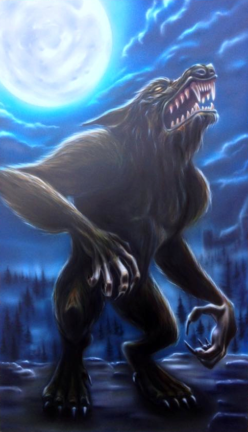 Werwolf in Airbrushtechnik gemalt