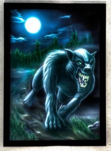 Airbrush aus NRW eines Werwolf bei Mondschein