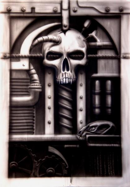 Schädeldesign gemalt mit der Airbrushpistole