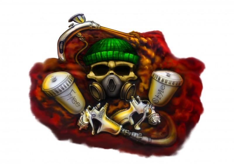 Airbrush mit Skull und Lackierpistole von Daniel Schubert aus NRW