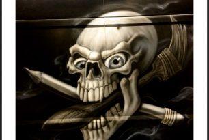 Skull-Schädel-Airbrush-Pinsel-Maler-Lackierung-HP