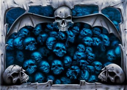 Airbrush Skulls mit Steinstruktur von Daniel Schubert aus NRW