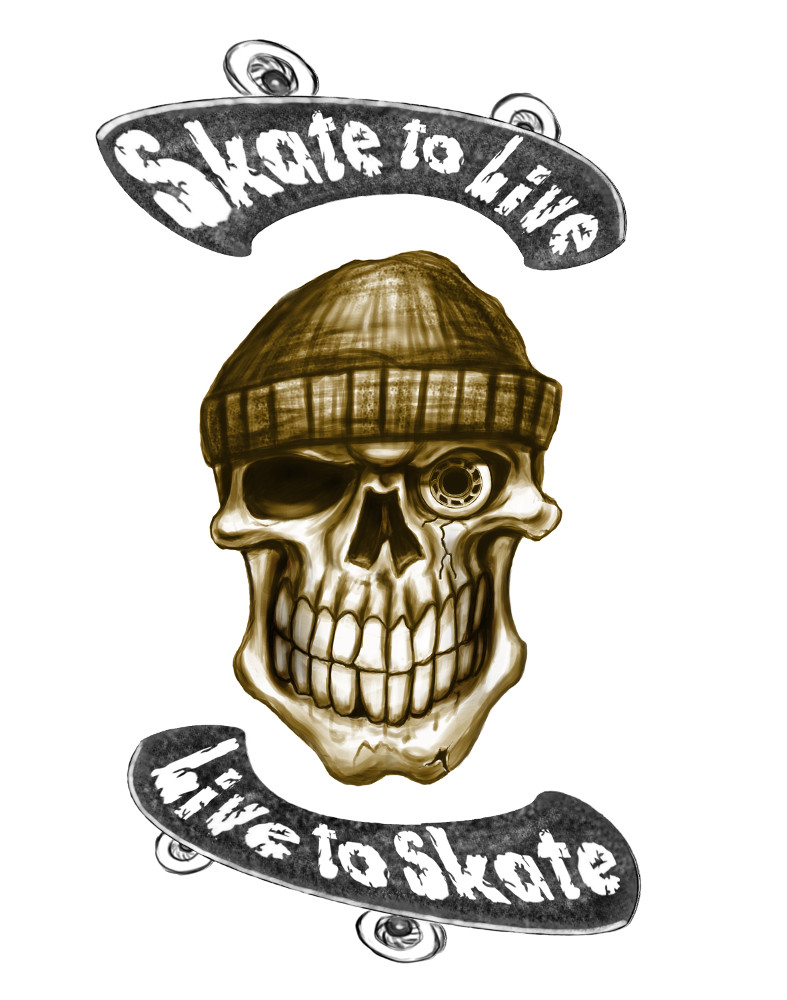 Skull Airbrush Skate to live gemalt von lackierer Daniel Schubert aus NRW