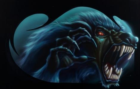 Airbrush Lackmalerei Werwolf Fantasy lackiert von Daniel Schubert aus NRW