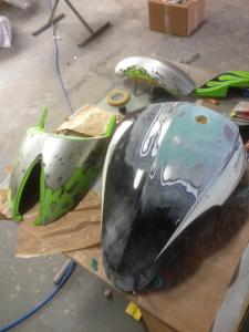 Victory Motorrad Vorbereitung zur Lackierung