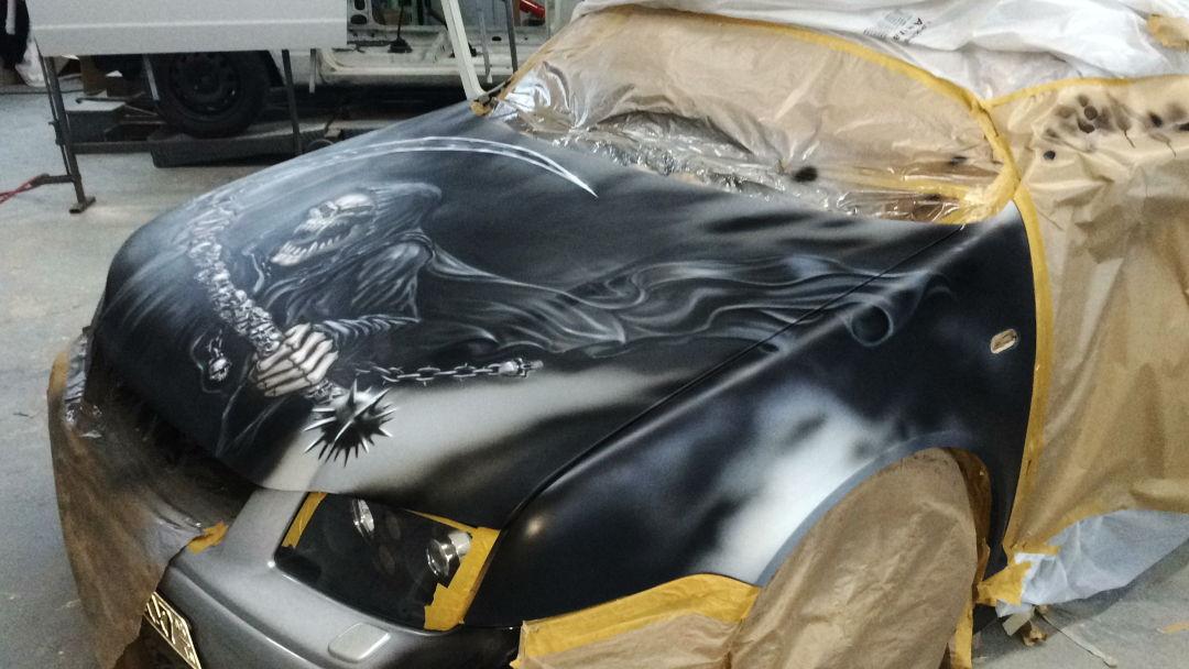 """Airbrush Auto: Jetzt mit """"neuen"""" Reaper auf der Haube 15 Airbrush Auto"""
