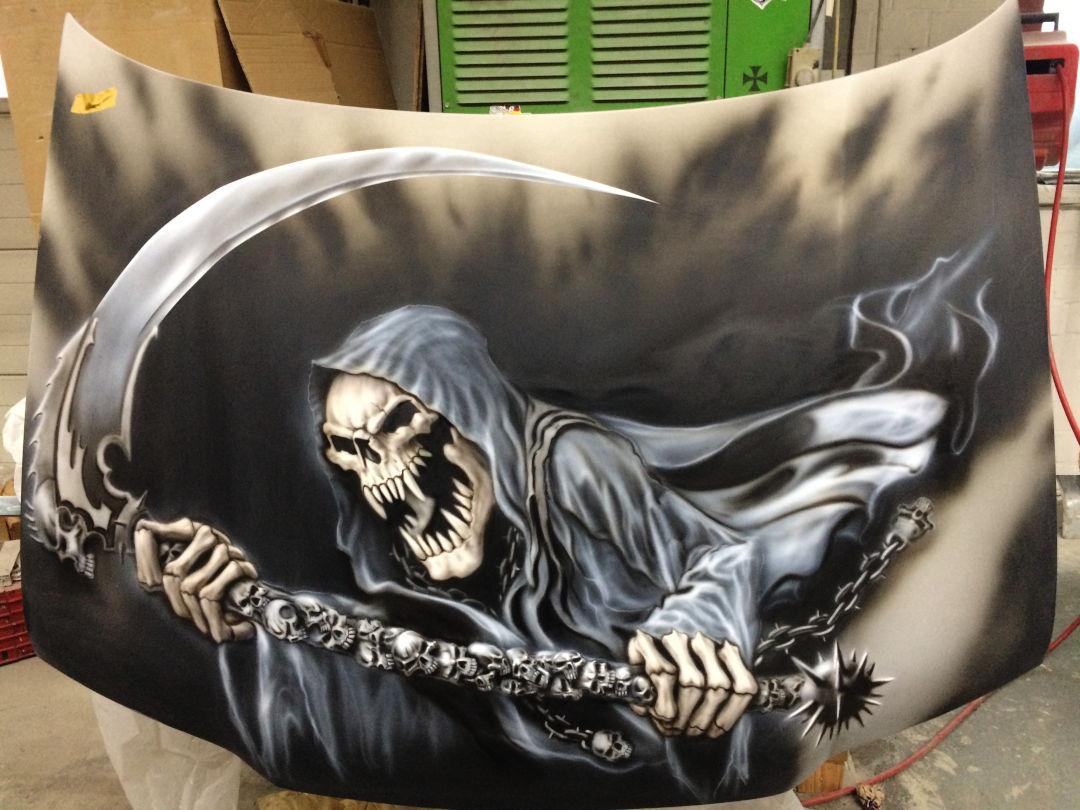 """Airbrush Auto: Jetzt mit """"neuen"""" Reaper auf der Haube 13 Airbrush Auto"""