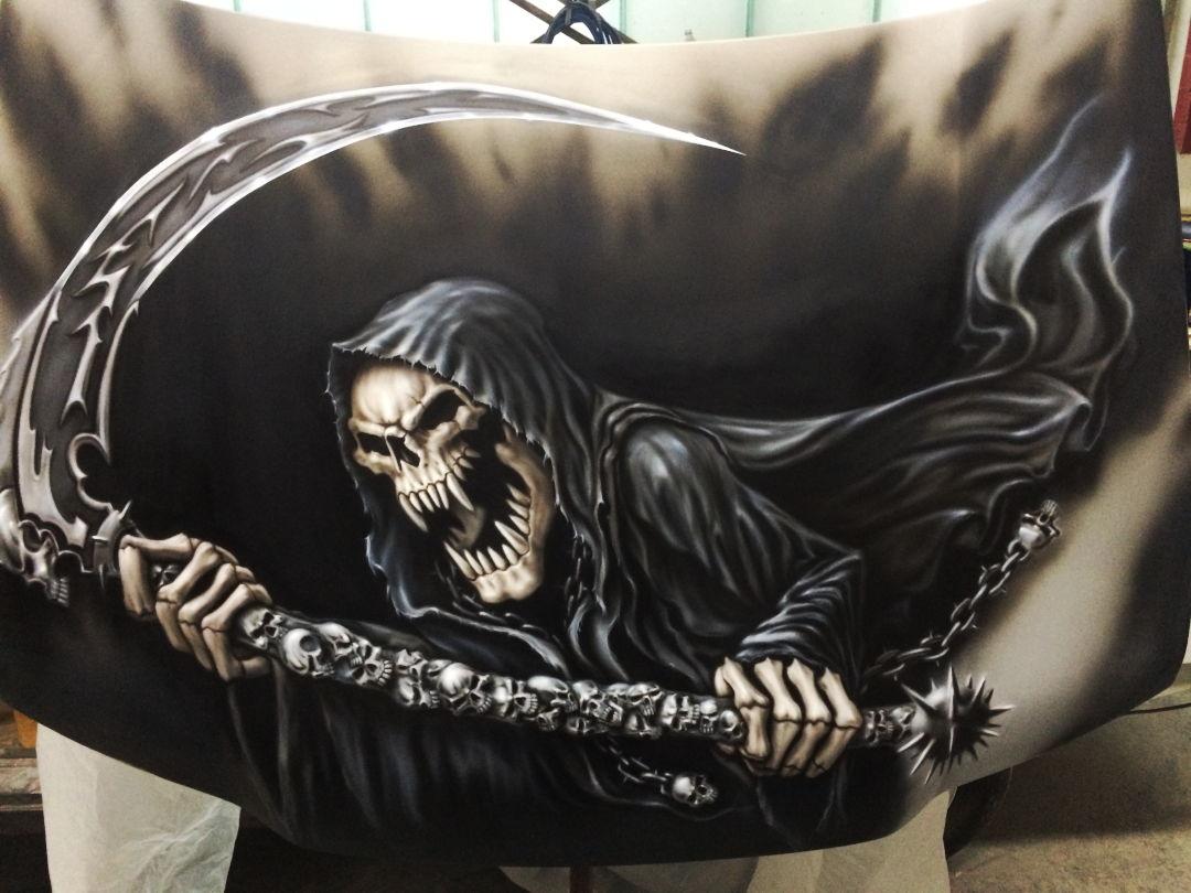 """Airbrush Auto: Jetzt mit """"neuen"""" Reaper auf der Haube 14 Airbrush Auto"""